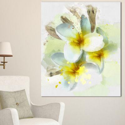 Designart Frangipani Flowers Watercolor Floral Canvas Art Print - 3 Panels