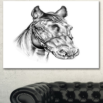 Designart Freehand Horse Head Pencil Drawing Animal Canvas Art Print - 3 Panels