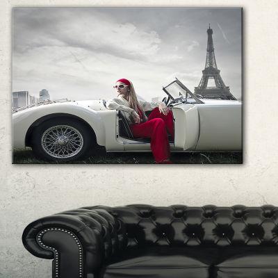 Designart Fashion Woman In Car Canvas Art Print