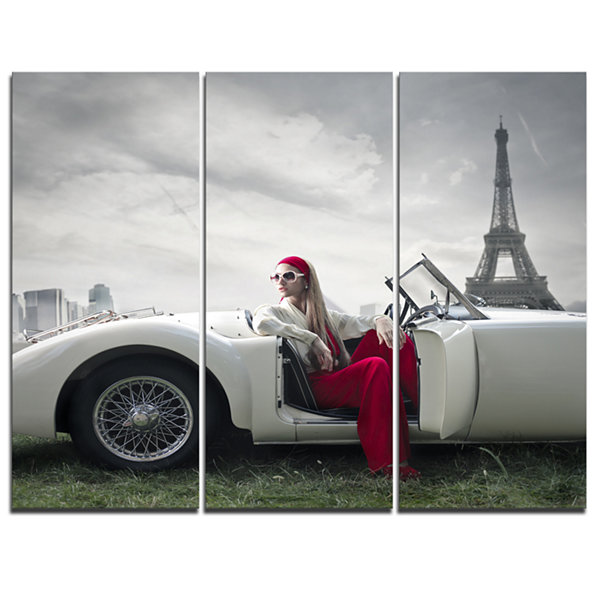 Designart Fashion Woman In Car Canvas Art Print -3Panels