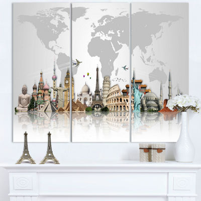 Designart Famous Monuments Across World Canvas ArtPrint - 3 Panels