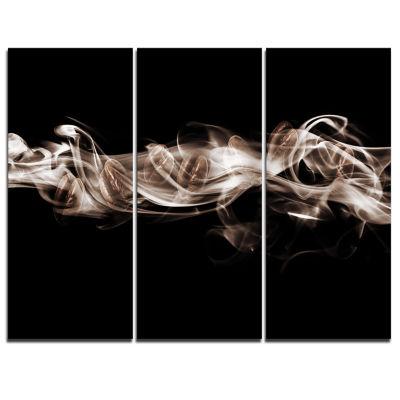 Designart Fractal White Smoke Abstract Canvas ArtPrint - 3 Panels