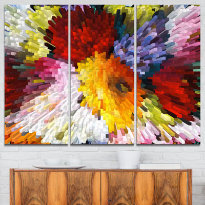 Design Art Extrusive 3D Fabric Flowers Canvas Art Print - 3 Panels