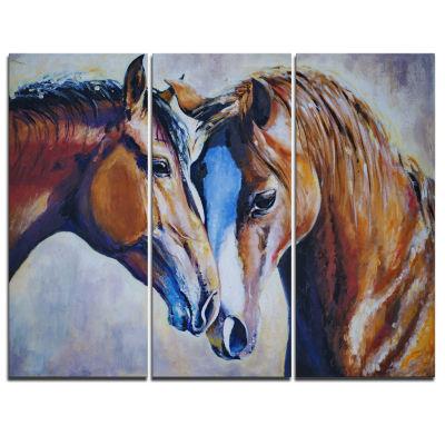 Designart Brown Amorous Horses Animal Canvas Art Print - 3 Panels