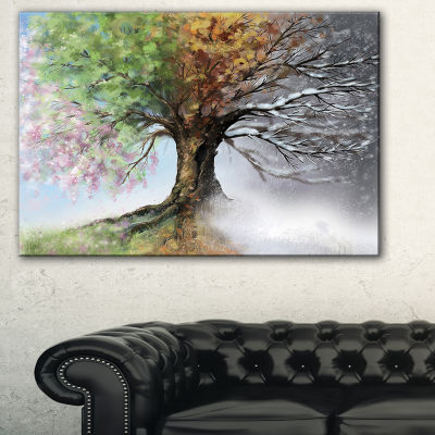 Designart Tree With Four Seasons Tree Painting Canvas Art Print