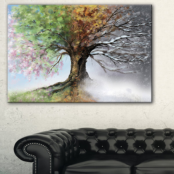 Design Art Tree With Four Seasons Tree Painting Canvas Art Print