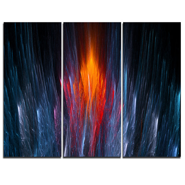 Designart Fractal Fire In Light Blue Abstract Canvas Art Print - 3 Panels
