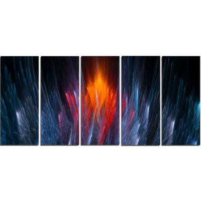 Designart Fractal Fire In Light Blue Abstract Canvas Art Print - 5 Panels