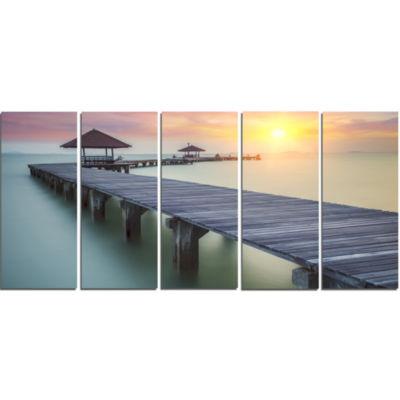 Design Art Wooden Sea Bridge And Sunset Seashore Photo Canvas Print - 5 Panels