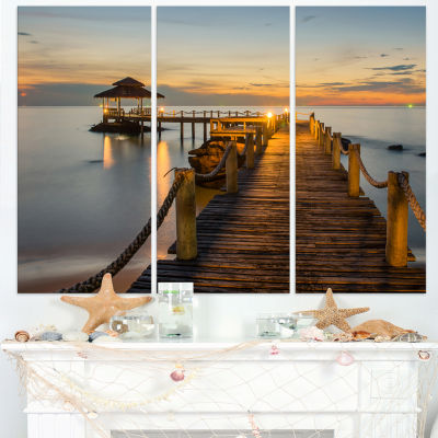 Design Art Brown Wooden Pier In Evening Seashore Photo Canvas Print - 3 Panels