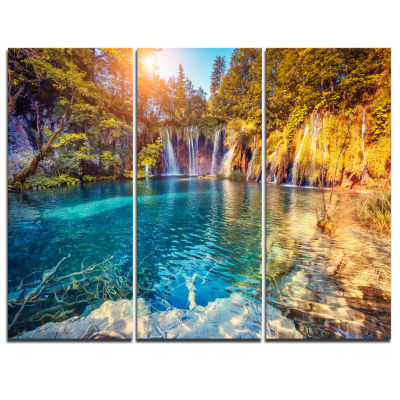 Design Art Turquoise Water And Sunny Beams Landscape Photography Canvas Print - 3 Panels