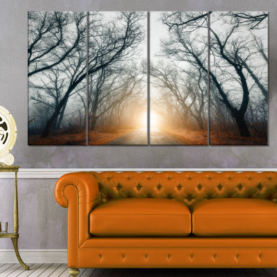 Designart Scary Forest With Yellow Light Landscape Photography Canvas Print - 4 Panels
