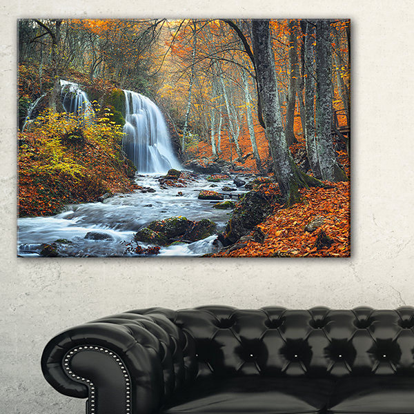 Designart Autumn Mountain Waterfall Landscape Photo Canvas Art Print