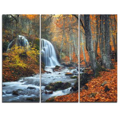 Designart Autumn Mountain Waterfall Landscape Photo Canvas Art Print - 3 Panels