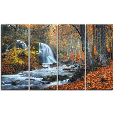 Designart Autumn Mountain Waterfall Landscape Photo Canvas Art Print - 4 Panels
