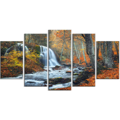 Designart Autumn Mountain Waterfall Landscape Photo Canvas Art Print   5 Panels