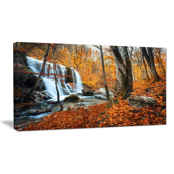 Designart Autumn Mountain Waterfall Close View Landscape Photography Canvas Print
