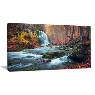 Designart Autumn Mountain Waterfall Long View Landscape Photography Canvas Print