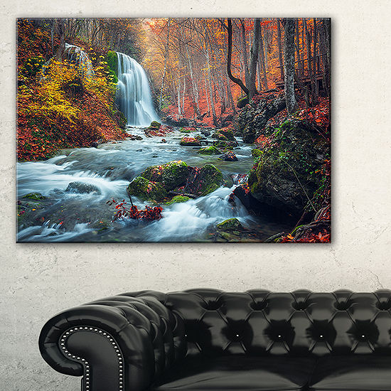 Designart Autumn Mountain Waterfall Long View Landscape Photography Canvas Print