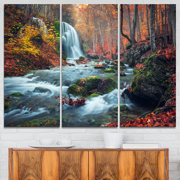 Design Art Autumn Mountain Waterfall Long View Landscape Photography Canvas Print - 3 Panels