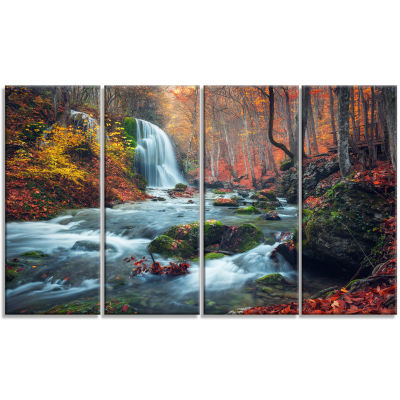 Design Art Autumn Mountain Waterfall Long View Landscape Photography Canvas Print - 4 Panels