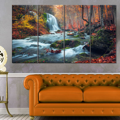 Designart Autumn Mountain Waterfall Long View Landscape Photography Canvas Print - 4 Panels