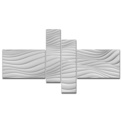 Designart Fractal Rippled White 3D Waves AbstractCanvas Art Print - 4 Panels