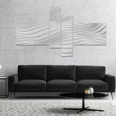 Designart Fractal Rippled White 3D Waves Abstract Canvas Art Print - 4 Panels