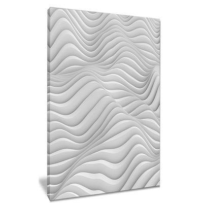 Design Art Fractal Rippled White 3D Waves Contemporary Canvas Art Print