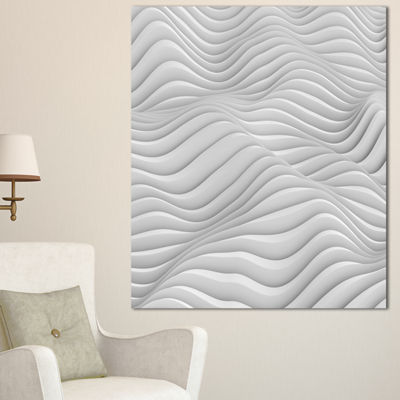Designart Fractal Rippled White 3D Waves Contemporary Canvas Art Print