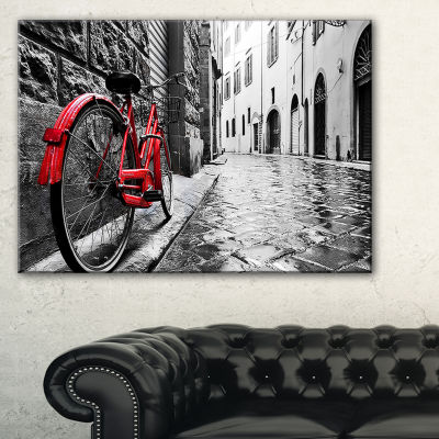 Designart Retro Vintage Red Bike Cityscape Photo Canvas Art Print