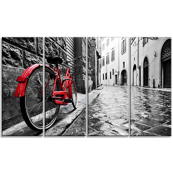 Designart Retro Vintage Red Bike Cityscape PhotoCanvas Art Print - 4 Panels