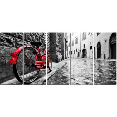 Designart Retro Vintage Red Bike Cityscape PhotoCanvas Art Print - 5 Panels
