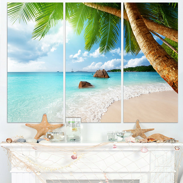 Design Art Praslin Island Seychelles Beach Seashore Photo Canvas Print - 3 Panels