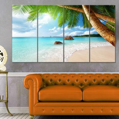 Designart Praslin Island Seychelles Beach SeashorePhoto Canvas Print - 4 Panels