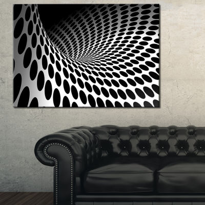 Design Art Waves And Circles Black N' White Contemporary Canvas Art Print