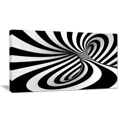 Designart Spiral Black N White Contemporary CanvasArt Print
