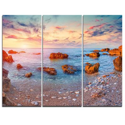 Design Art Mediterranean Sea Sunrise Seashore Photography Canvas Print - 3 Panels