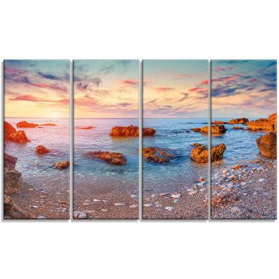 Designart Mediterranean Sea Sunrise Seashore Photography Canvas Print - 4 Panels