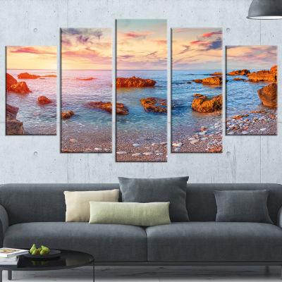 Designart Mediterranean Sea Sunrise Seashore Photography Canvas Print  5 Panels