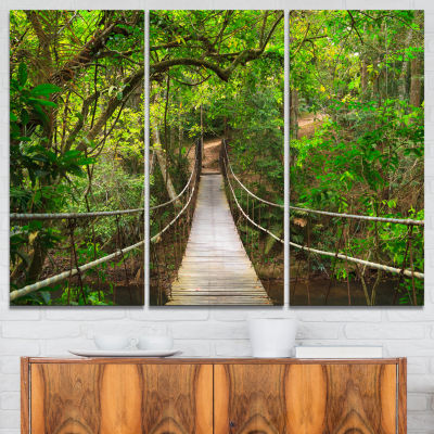 Design Art Bridge To Jungle Thailand Landscape Photo Canvas Art Print - 3 Panels