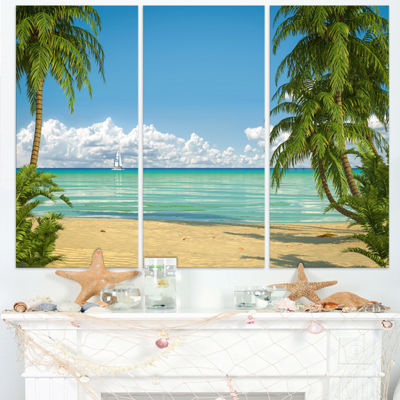 Designart Palms At Caribbean Beach Seashore PhotoCanvas Art Print - 3 Panels