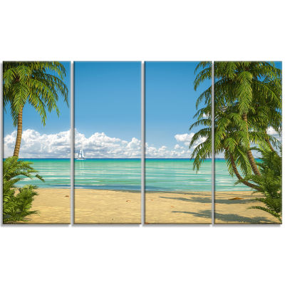Designart Palms At Caribbean Beach Seashore PhotoCanvas Art Print - 4 Panels