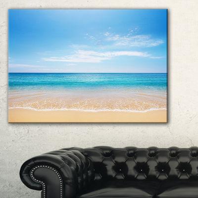 Designart Wide Blue Sky Over Beach Seashore PhotoCanvas Print