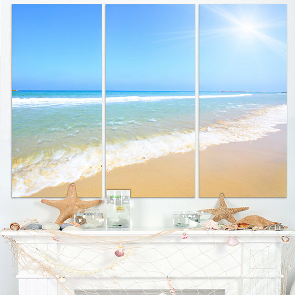Designart Sun Over Tropical Beach Seashore Photo Canvas Art Print - 3 Panels