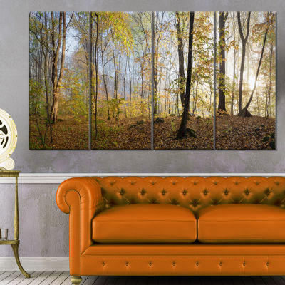 Designart Green Autumn Forest In Morning Landscape Photography Canvas Print - 4 Panels