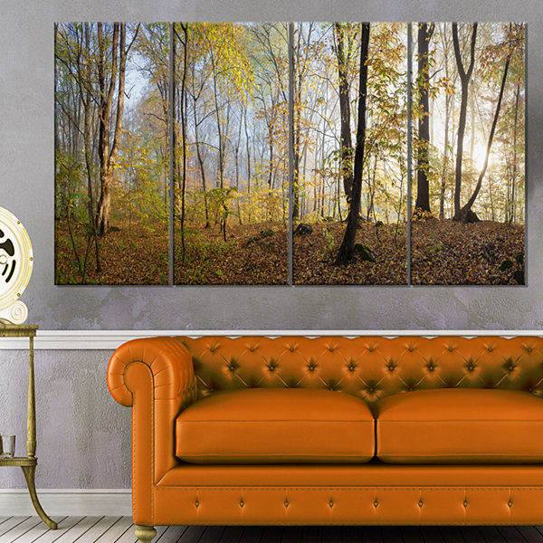 Design Art Green Autumn Forest In Morning Landscape Photography Canvas Print - 4 Panels
