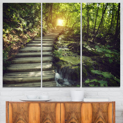 Designart Misty Journey Ahead Landscape Photography Canvas Art Print - 3 Panels