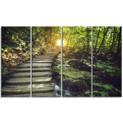 Design Art Misty Journey Ahead Landscape Photography Canvas Art Print - 4 Panels