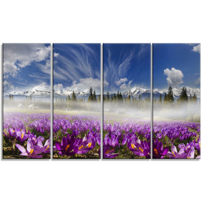 Designart Spring Flowers Crocuses Photography Canvas Art Print - 4 Panels
